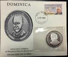 1982 FDR 1 Oz .999 silver 100th Anniversary Coin and Dominica FDC Envelope