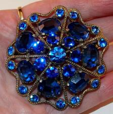 ANTIQUE ART DECO LARGE MULTI SHAPED COBALT BLUE GLASS RHINESTONES BROOCH PIN