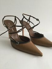 VALENTINO LIGHT BROWN LEATHER HIGH-HEEL POINTY TOE STRAPPY SLINGBACKS SIZE 39