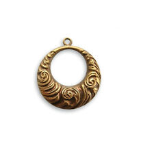Vintaj natural brass Nouveau Swirls toggle ring / pendant, pack of 2