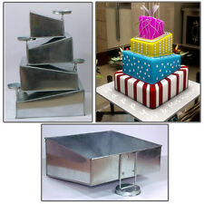 "4 Tier Topsy Turvy Square Birthday Wedding Anniversary Cake Tin  6"" 8"" 10"" 12"""