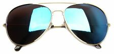 "55mm ""Aviator Flash Lenses"" GOLD w/ BLUE MIRROR LENS sunglasses small size fit"