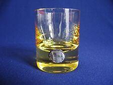 11 große Schnapsgläser 70er Jahre leuchtend gelbes Glas Moser Böhmen + Etikett