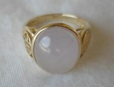 14K Yellow Gold Cabochon Chalcedony Chinese Character Ring -Size 6.25