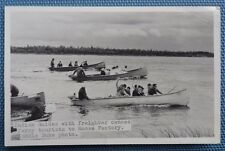 Postcard Photo - Moose Factory, Ontario - Indian Guides on River
