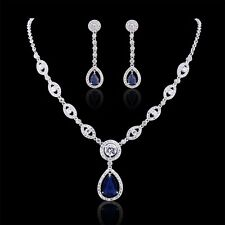 Promising jewelry! Pear blue/round white Sapphire wedding Necklace&Earrings Sets