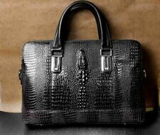 Successful Man Mens Alligator Style Leather Briefcases Laptop Bag Dark Brown BF2