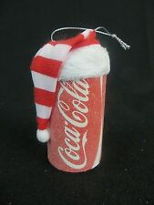 COCA COLA CAN CHRISTMAS ORNAMENT - FROSTED COCA-COLA CAN WITH HAT