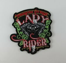 EMBROIDERED SEW IRON ON PATCH LADY RIDER BIKER MOTOCYCLE T-SHIRT JACKET CAP