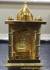 TEMPLE SHRINE LAXMI MATA DHAN LAKSHMI MAA GOLDEN CARVED METAL STATUE RARE ALTAR