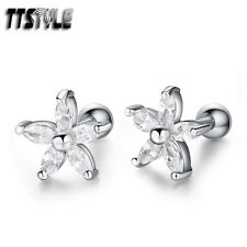 TTstyle Silver Surgical Steel Clear CZ Flower Cartilage Tragus Earrings A Pair