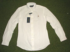 $98. (XXL) POLO-RALPH LAUREN White Knit Pique Oxford Shirt (Slim Fit)
