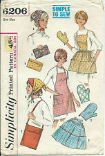 S 6206 sewing pattern 60's GIFTS sew APRONS Mitt SCARF Scarves BAGS Purse CLUTCH