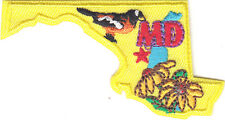"""MD"" -  MARYLAND STATE SHAPE PATCH-Iron On Embroidered Applique/Birds,Flowers"