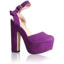 NEW WOMENS ANKLE STRAP LADIES PLATFORM CHUNKY HIGH HEEL SANDALS SHOES SIZE 3-8