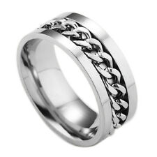 New Fashion Woman Girl Boy Man 316L Stainless Steel Silver Chain Ring Size:8