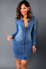 Abito a cono aperto aderente jeans Zip Scollo Cutout Back Denim Bodycon Dress L