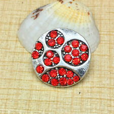 Fashion Red Rhinestone Charm Chunk Snap Button fit for Noosa Bracelet KOC94