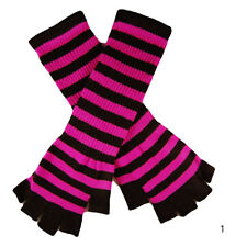 Striped Stripey Long Magic Unisex Fingerless Gloves Emo Gothic Punk Best Gift