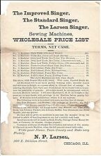 c1880 Adv Circular/Price List, The Larsen Singer Sewing Machines, etc.
