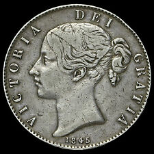 1845 Queen Victoria Young Head Silver Crown, Cinquefoil Stops, AVF / VF
