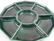 "VTG GREEN PFALTZGRAFF POTTERY13"" DIVIDED DISH CHIP/DIP FRUIT VEGGIES APPETIZERS"