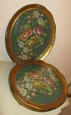 2 Vintage Needlepoint in Oval Gold Frame under Glass-Hanging Wall Art Home Decor