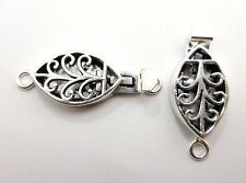 2 PCS BALI METAL BOX CLASP 1 STRAND ANTIQUED STERLING SILVER PLATED  #221