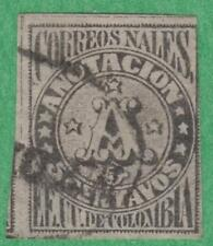 Colombia #F3 used 5c Anotacion reprint crossed lines background 1870