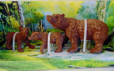 "NEW Playset (3) BROWN BEARS Wild Hunting BEAR CUB FIGURINES 3"" Cake Topper Toys!"