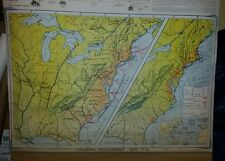VINTAGE Pull Down School Map  Colonial Development / Struggle for a Continent