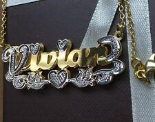 DOUBLE NAME PLATE STERLING SILVER PERSONALIZED CHOOSE NAME  NECKLACE 24K PLATED