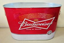 "BUDWEISER Metal Oval Bottle Bar Bucket Holds Ice Beer Aluminum Tin Cans 13""x8"""