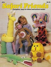 Safari Friends, Jerry Gentry Crochet Toy Doll Pattern 87A Elephant Lion & More!
