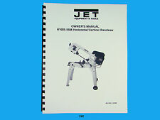 Jet HVBS-56M Horizontal   Band Saw  Operators & Parts List  Manual  *246