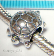1x OXIDIZED STERLING SILVER SEA TURTLE EUROPEAN CHARM BRACELET SPACER BEAD #1154