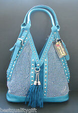 NEW-HANDBAG EXPRESS BLUE WOVEN LEATHERETTE+CRYSTAL+STUD+SILVER PURSE,HAND BAG