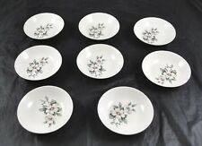 Lot Of 8 Fine China Shallow Fruit Bowls With Painted White Flowers Orchid