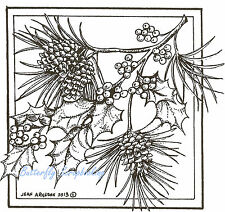 Christmas Pine and Holly Branch, Wood Mounted Rubber Stamp NORTHWOODS - PP9247