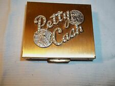 "Sweet Vintage Brass Plated Hinged Box ""Petty Cash"" Rhinestone Coin  Lucite Inter"