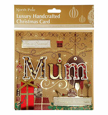 NORTH POLE Luxury Handcrafted Christmas Card For A Special Mum 17cm x 17cm