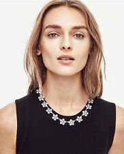 ANN TAYLOR ROUND CRYSTAL FLORAL NECKLACE, NWOT, CRYSTAL FLOWERS, SILVER