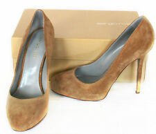 Sergio Rossi Brown Suede Heels & Original Box & Heel Caps - EU 39.5 UK 6.5