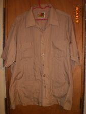 Vintage Haband Guayabera Button Up Cuban Wedding Lounge Cigar Shirt XX Brown
