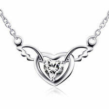 925 Sterling Silver Shiny Gem Crystal CZ Love Heart Angel Wings Pendant Necklace