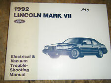 1992 LINCOLN MARK VII ELECTRICAL VACUUM TROUBLESHOOTING SERVICE MANUAL WIRING