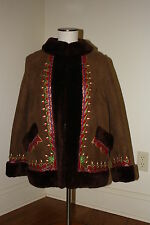 Vintage Brown Suede Shearling Heavily Embroidered Coat Jacket