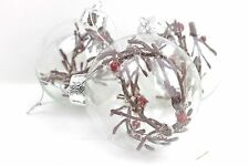 GISELA GRAHAM CHRISTMAS CLEAR GLASS BAUBLE WITH FROSTED TWIG BERR DECORATION X 3
