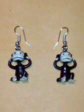 MONKEY COVERING EARS WITH HANDS  FIGURE DANGLE EARRINGS