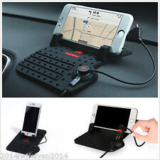 Autos Dashboard USB Mount Charger Stand Holder Non-Slip Pad For GPS/ Cell Phones